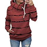 ZFQQ Mehrfarbig bedruckter Kapuzen-Fleece-Streifenpullover für Damen im Herbst und Winter