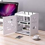 YXZN Schwebendes Regal Weiß Aufbewahrungsbox für TV-Schrank, Router, WLAN-Steckdose, Kabelbox, Fernbedienungsspeicher und Sortierbox Weiß