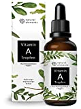 Vitamin A Tropfen hochdosiert - 50ml (1700 Tropfen) - Echtes Vitamin A Ester (Retinylpalmitat) in MCT-Öl - Ohne Zusätze, laborgeprüft, vegan
