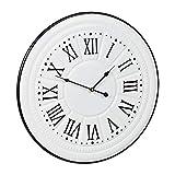 Relaxdays Wanduhr Vintage, römische Ziffern, ohne Tickgeräusch, Küchenuhr Wand, Metall, Antik-Design, Ø 58 cm, weiß, 1 Stück