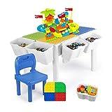 Renovierungshaus Bau Aktivitätstisch Kinder Holztisch Spielzeug 3 6 Jahre alt Jungen und Mädchen Zusammengebaute Partikel Puzzle Spieltisch Multifunktions Weiß Multifunktionstisch ( Farbe : Weiß Größe