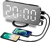 GUJIN Digitaler Wecker,6,5' LED Spiegel Wecker mit 3 Dimm-Modus, Schlummerfunktion und 2 USB-Anschlüssen für Wohnzimmer, Schlafzimmer, Bü