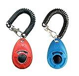 OYEFLY Hunde Clicker, Klicker mit Großem Knopf,2 Stück Hunde Klicker Set für Hundetraining Hundeerziehung Auch für Katzen Pferde (Rot und Blau)