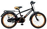 Amigo Sports - Kinderfahrrad für Jungen - 18 Zoll - mit Handbremse, Rücktritt, fahrradständer und Beleuchtung - ab 5-8 Jahre - Schwarz
