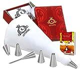 KITCHTIC Premium Spritzbeutel Set - Großer Mehrweg Spritzsack aus Baumwolle Spülmaschinen geeignet mit Geschenksbox, 6 Edelstahl Spritztüllen, Adapter, Reinigungsbürste und E-Book mit Tipps