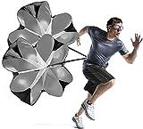 KUYOU Geschwindigkeits-Training Widerstand 56' Zoll Fallschirm Geschwindigkeit Training Laufschirm Sprint Fitness Leistung Lauftraining (schwarz 2pcs)
