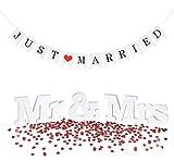 Sweelov Hochzeit Tisch Dekoration MR & MRS Buchstaben Zeichen JUST Married Wimpelkette Girlande mit Herz Streudeko Konfetti für Hochzeit Fest Foto Geschenk-Dekor