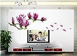 Wandsticker 42x107x0.02cm Wandaufkleber Rosa & Weiß Magnolien Blumen Wandkunst Abnehmbare selbstklebende Abziehbilder Vinyl Home DIY für Wohnzimmer Schlafzimmer