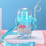 Walwassersprühbecher, Kinderwasserflasche mit Strohhalm, Kinderwassersprühbecher, flaschensturzfest, Wasser durch Blasloch freigesetzt, 250 ml (Sea whale blue strap)