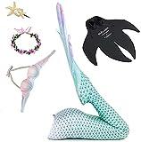 LNYNG 6 Stück Mermaid Badeanzug Schwanz, Einschließlich Flossen Und Blume Haarnadel, Kann Schwimmen, Geeignet Für Kinder Und Jugendliche Clear-S