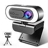 1080P Webcam Ringlicht, NIYPS Full HD Web Camera mit Mikrofon für PC/Laptop, Streaming Cam mit Abdeckung und Stativ, USB Kamera für Skype, Video Chat und Aufnahme, Kompatibel mit Windows, Mac, Android