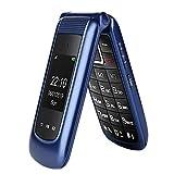 GSM Seniorenhandy Klapphandy ohne Vertrag,Großtasten Mobiltelefon Einfach und Tasten Notruffunktion,Dual-SIM 2.4 Zoll Display Handy für Senioren (Blau)