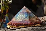 Crocon Seven Chakra Pyramid | Crystal Point & Flower of Life Symbol | feng Shui | Chakra Balancing | Reiki Healing | Spiritual | Good Luck | Paper Weights | Home Office Decor | Size: 2.5-3 Inch