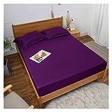 HOMFLOW Matratzenschutz Wasserdicht Gebürstet Matratzenschoner Unterbett Atmungsaktiv Glatt Weich Hautfreundlich Für Schlafzimmer Hotels (Color : Purple, Size : 180x220cm)