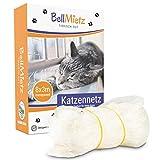 BellMietz® Katzennetz für Balkon & Fenster (durchsichtig) | Extragroßes 8x3m Katzenschutz-Netz ohne Bohren | Balkonschutz Inkl. 25m Befestigungsseil | Balkonnetz besonders transparent &