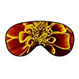 Augenmaske, Augenbinde, 3D-konturierte Schlafmaske, lichtblockierende Augenbinde, Plüsch-Schlafmaske, Reise-Augenblinder für Frauen und Männer, Bronze-Gold, Ringelblumen-Blumenmuster