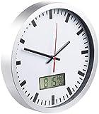 St. Leonhard Wanduhr mit Thermometer: Analoge Wanduhr, digi. Datums- & Temperaturanzeige, Bahnhofsuhr-Design (Baduhren)
