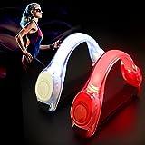 GUJIN 2 Stück LED Armband Leuchtband für Sport, Outdoor Reflektorband Sicherheitslicht Slap Band für Fahrradfahren Joggen Reflektor und Blinklicht für Kinder (Rot+Weiss)