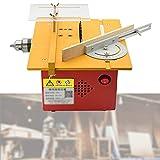 KUANDARMX Multifunktionale Holzbearbeitungskettensäge, Kleine Elektrische Schneidemaschine Tischkreissäge Stufenlose Geschwindigkeitsregelung, Schlitzen, Yellow, B