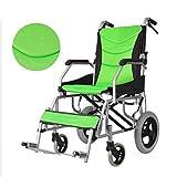 Leichtrollstuhl, Mit Bremse Faltrollstuhl Bienennetzkissen Sitting width 43cm Wiegt nur 10 kg Ergonomischer Sitz und Rückenlehne für Altere und Behinderte Menschen,Grün