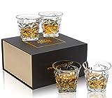 KANARS 4er Set Whisky Gläser, Bleifrei Kristallgläser, Whiskey Glas, 270 ml, Schöne Geschenk Box, Hochwertig