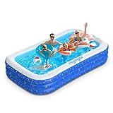 Planschbecken, 300 * 180 * 50cm Pool Rechteckig für Kinder mit 2 Bälle, Schwimmbecken mit Aufbewahrungstasche, Schwimmbad Groß für Baby, Erwachsene, Outdoor, Garten