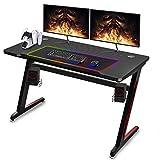 Soontrans Gaming Tisch Groß Gaming Schreibtisch, Kohlefaser Oberfläche, Gamer Tisch Z-Form, Edelstahl Fuß, Gaming Desk für PS4 PS5, 120x60cm