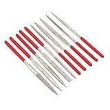 Cyleibe 10-teiliges Nadelfeilen-Set, Metall Diamantnadelfeilen, Rundfeilen Werkzeug Set für Hobby Modellbau, Holzbearbeitung Kleines Feilenset