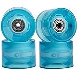 Mehomei Cruiserboard Skateboard Rollen 60mm 78A mit Kugellager 608ZZ ABEC-9, Ersatz Räder für Longboard Snakeboard Pennyboard Fishboard, Blau LED, 4Pcs