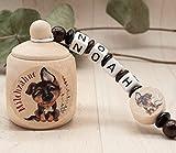 Milchzahndose mit Namen Mädchen Junge Schäferhund Hund rot Holz Zahnbox Milchzähne Geschenk Einschulung Schultüte Geburtstag