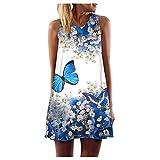 VEMOW Sommer Elegante Damen Frauen Lose Vintage Sleeveless 3D Blumendruck Bohe Casual Täglichen Party Strand Urlaub Tank Short Mini Kleid(Weiß 3, 42 DE/XL CN)