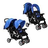 Zwillings-Buggy, zusammenklappbar, Tandem aus Stahl, Blau und Schwarz