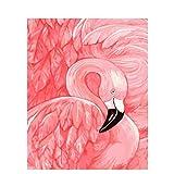 QINGCANG Ölgemälde zum Selbermachen, Kreuzstich-Set, 60 x 75 cm, Rahmen, Malen nach Zahlen, Tiere, Flamingo, Ölgemälde auf Leinwand, DIY-Digitalgemälde, Heimdek