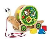 Hape E0349 - Nachzieh-Schnecke, Nachziehspielzeug, inkl. Farb- und Formensortierer, aus Holz, ab 12 M