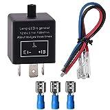 Greluma 1 Stk LED Blinkrelais, 12V 24V 3-PIN Einstellbarer LED-Blinkrelais für Kraftfahrzeug M
