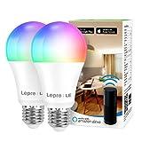 Lepro Smarte Glühbirnen E27, Smart WiFi LED-Lampe, 9W 806 LM WLAN Dimmbar Birne, Mehrfarbige, App Steuern Kompatibel mit Alexa Echo, Google Home, Warm-/Kaltesweiß licht, 2er Pack (nur 2,4 GHz)