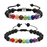 PHOGARY 7 Chakren Armband mit echten Energiesteinen für Damen und Herren, mit Geschenkbeutel und Stress Relief Yoga Kornejustierbare Angst Armband