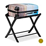 Relaxdays Kofferständer Holz, klappbar, Gepäckablage, Kofferaufbewahrung, für Reisegepäck, HxBxT: 52,5x66,5x48 cm, weiß