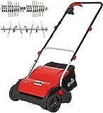 Grizzly Tools Elektro Vertikutierer EV 1201 Set mit Fangsack, Lüfterwalze - Elektrischer Rasenlüfter zur Gartenpfleg