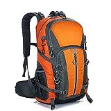 HTTC Wasserdichter Outdoor-Rucksack für Männer und Frauen, 40L übergroßer Rucksack, geeignet zum Wandern, Camping, Bergsteigen, Radfahren, Urlaub, Angeln, Strand, Skifahr orange