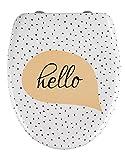 WENKO Premium WC-Sitz Hello - Toiletten-Sitz mit Absenkautomatik, rostfreie Fix-Clip Hygiene Edelstahlbefestigung, Duroplast, 38 x 45 cm, Mehrfarbig