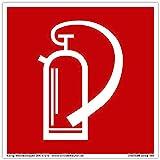 Schild Feuerlöscher   extra langnachleuchtend   PVC selbstklebend 148x148mm   gemäß BGV A8 F05   DIN 67510 (Brandschutzzeichen) Dreifke extra 160