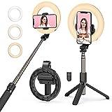 Ringlicht mit Stativ, Mpow Ringleuchte mit Selfie Stick, Wiederaufladbar und Dimmbar Ringlicht, Anti-Chaos Drahtlos Tragbar Handy Fülllicht für iPhone 12 Pro MAX/iPhone 11/XR/X/8, Galaxy S20/S10