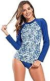 SHEKINI Damen Langarm Bikini Set Schwimmen Surfen Tankini Langärmelig Blumen Bauchweg Zweiteiliger Tauchanzug (XL, A-Königsblau)