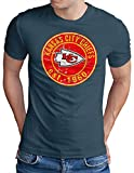 OM3® - Kansas City Badge - T-Shirt | Herren | American Football Shirt | Denim, L