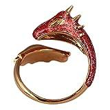 SYLCY Drachenring für Frauen, zahnlose Drache Indie Schmuck Funky Ringe, Bring dir Glück Email Ringe Frauen Niedlichen Tier Fingerring mit funkelnden rosa Gold Topas Drachen-Rojo