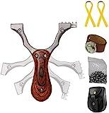 Toparchery Steinschleuder Set:Pocket Shot Slingshot Schleuder Zwille Katapult Sportschleuder Jagd Schleuder-Profi aus Edelstahl Spielzeug Erw