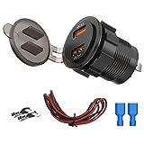 Kirmax Dual QC3.0 USB Laden Buchse, 36 W Wasserdichter Schnell Laden 3.0 Power Steckdosen für 12V / 24V Auto Boot Marine Moto