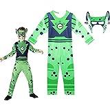 LangCher Kostüm für Kinder Wild Kratts Kostüm Jungen Tiere Brüder Jumpsuit + Maske Kind Dress Up Fancy Outfit für Halloween Cosplay Show (Color : A, Size : 120)