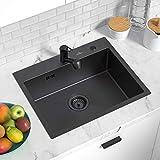 Auralum 55*45CM Edelstahlspüle 50cm Unterschränke für Küchen Spülbecken, Einbauspüle 1 Becken Küchenspüle (Einzelspüle nano schwarz)